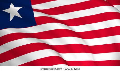 Liberia National Flag (Liberian flag) - waving background illustration. Highly detailed realistic 3D rendering