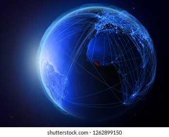 Liberia from space on planet Earth with blue digital network representing international communication, technology and travel. 3D illustration. Elements of this image furnished by NASA.