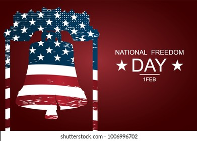 The Liberty Bell as symbols of freedom and justice for National freedom day. Poster or banners on  National Freedom Day! - February 1st. USA flag as background.