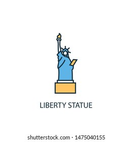 Liberty statue concept 2 colored line icon. Simple yellow and blue element illustration. Liberty statue concept outline symbol design from USA set