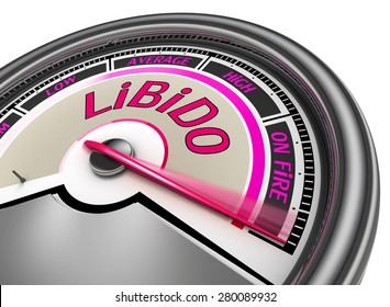 Libido conceptual meter indicate maximum, isolated on white background