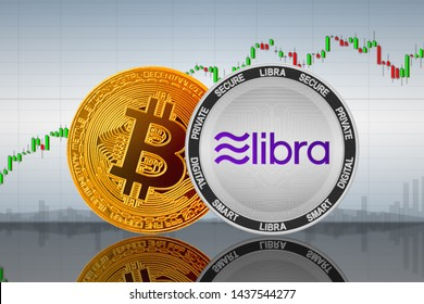 Libra and Bitcoin coins on the background of the chart; facebook libra and bitcoin cryptocurrency; crypto exchange