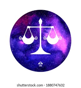Libra horoscope sign in twelve zodiac with galaxy stars background