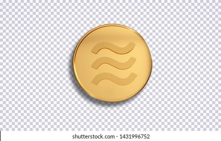 Libra new digital currency , cryptocurrency. Realistic 3d render gold coin on background isolate with clipping path ready to use. For your digital coin symbol.