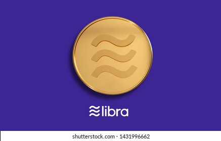 Libra new digital currency June 2019. Cryptocurrency concept design with realistic 3d  gold coin with identity color. Brilliant illustration for your electronics financial, money symbol background.