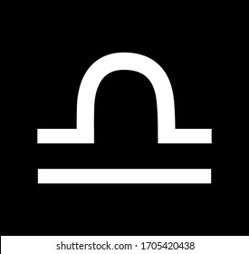 Libra Zodiac Sign, symbol. Libra constellation of zodiac, astrology sign  clip art isolated on black background. weighing scales. Illustration of zodiac horoscope symbol.  Design element for greeting.