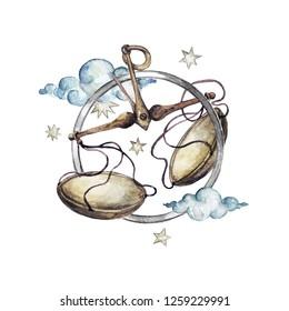 Libra - Zodiac Symbol. Watercolor Illustration.