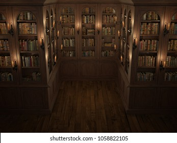 Library with candle lighting. Bookcase with old books.