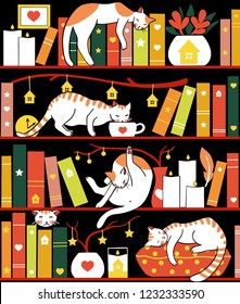 Library cats - seamless pattern