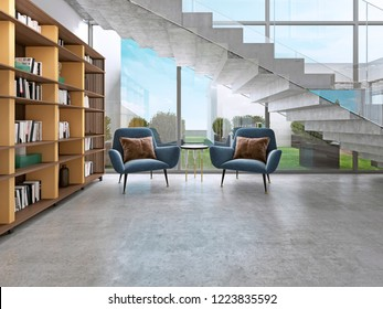 Library shelves with books in the contemporary room and large windows, under the stairs. 3D rendering.