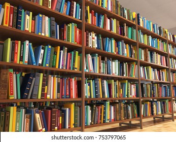 Library stacks of books and bookshelf. 3d illustration & Bookshelf Images Stock Photos \u0026 Vectors | Shutterstock