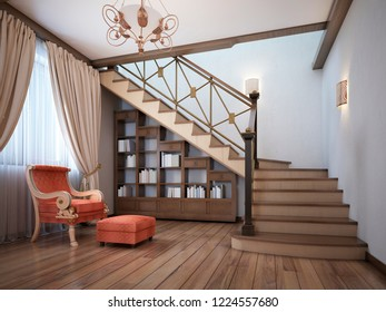 Library under the stairs with a red armchair in the English style. 3D rendering.