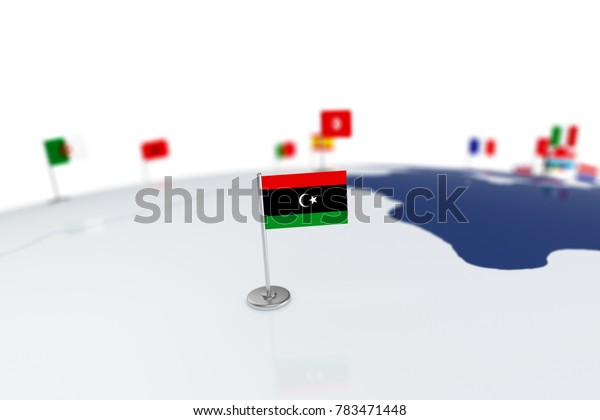 Libya flag. Country flag with chrome flagpole on the world map with neighbors countries borders. 3d illustration rendering flag