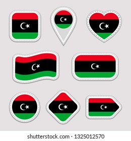 Libya flag set. Libyan flags stickers collection. Isolated geometric icons. National symbols badges. Web, sport page, patriotic, travel, school design elements. Different shapes