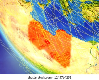 Libya on planet Earth from space with network. Concept of international communication, technology and travel. 3D illustration. Elements of this image furnished by NASA.