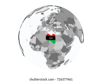 Libya on political globe with embedded flags. 3D illustration isolated on white background.