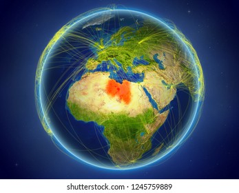 Libya from space on planet Earth with digital network representing international communication, technology and travel. 3D illustration. Elements of this image furnished by NASA.
