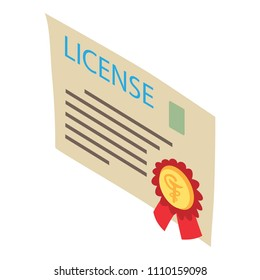 License icon. Isometric illustration of license icon for web