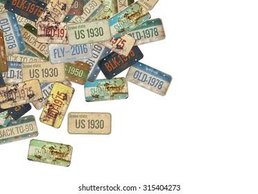 License plate. Retro collage. Poster