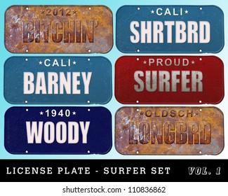 license plate series - surfer set