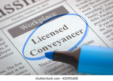 Licensed Conveyancer - Small Advertising in Newspaper, Circled with a Blue Highlighter. Blurred Image. Selective focus. Hiring Concept. 3D Render.
