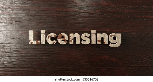 Licensing - grungy wooden headline on Maple  - 3D rendered royalty free stock image. This image can be used for an online website banner ad or a print postcard.