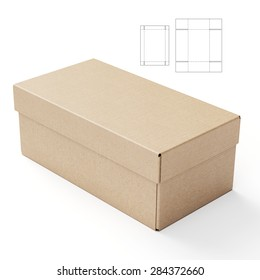 Lid and Tray Box with Die Cut Template