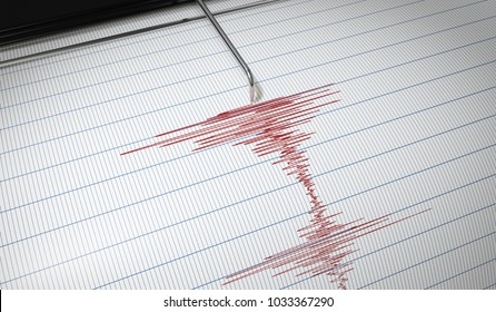 Lie detector or seismograph for earthquake detection is drawing chart. 3D rendered illustration.