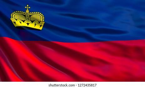 Liechtenstein flag. Waving flag of Liechtenstein 3d illustration. Vaduz