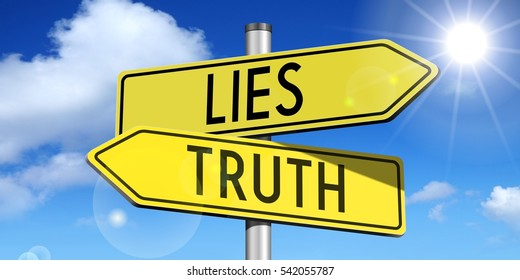 Lies, truth - yellow road-sign