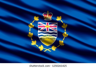 Lieutenant-Governor Of British Columbia 3D waving flag illustration. Texture can be used as background.