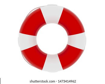 Life buoy - 3d render illustration. Equipment for lifeguards. Element for lifeguard day poster. Lifebuoy isolated on white background. Red and white color rubber ring