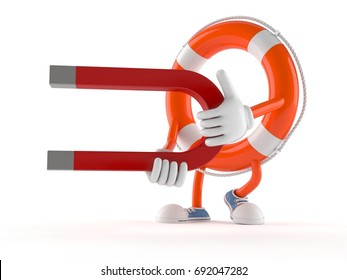 Life buoy character holding horseshoe magnet isolated on white background. 3d illustration