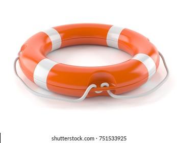 Life buoy isolated on white background. 3d illustration