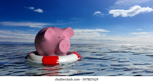 Life buoy and a piggy bank on blue sea and sky background. 3d illustration