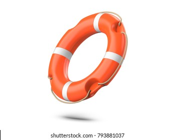 A life buoy for safety at sea, isolated on white background. 3d rendering of orange lifebuoy ring.