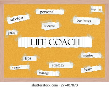 Life Coach Corkboard Word Concept with great terms such as help, goals, success and more.