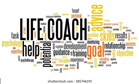 Life coach - personal development training word cloud.
