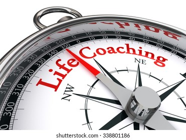 life coaching red word on concept compass, isolated on white background