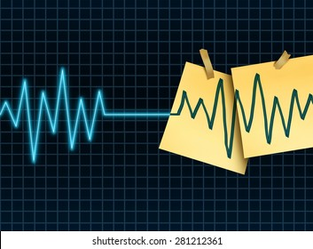 Life extension concept as a medicine and medical science symbol for slowing down or reversing the process of aging as an ekg or ecg lifeline death flatline with taped office notes extending living.
