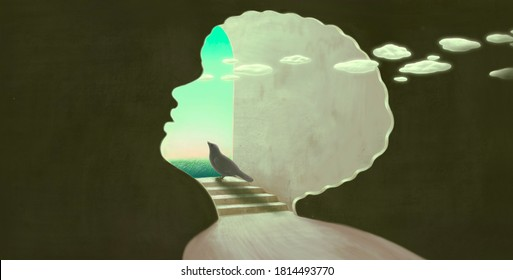 life  hope freedom and dream concept ,surreal artwork, black bird looking at the sky in African black child portrait