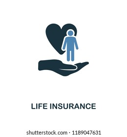 Life Insurance icon in two color design. Line style icon from insurance collection. UX and UI. Pixel perfect premium life insurance icon. For web design, apps, software and printing.
