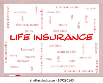 Life Insurance Word Cloud Concept on a Whiteboard with great terms such as term, whole life, rider, quote and more.