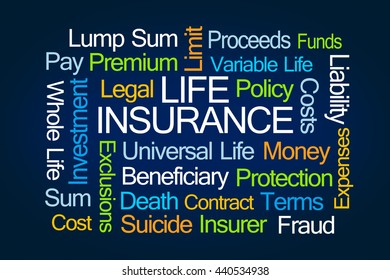 Life Insurance Word Cloud on Blue Background