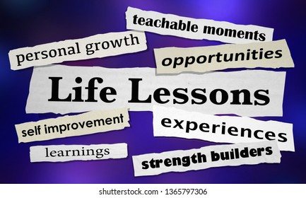 Life Lessons Personal Growth News Headlines 3d Illustration