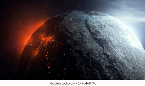 life on frozen planet, view of city from space on dark side of planet, sci fi surreal space 3d illustration
