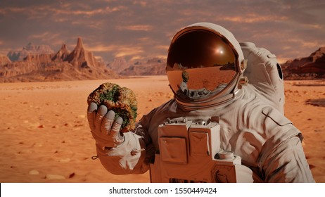 life on planet Mars, astronaut discovers bacterial life on the surface of a rock (3d science rendering)