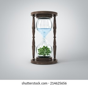 Life process of tree inside Glass clock, Isolated On White