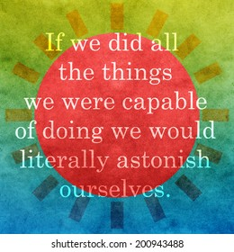 Life quote. Inspirational quote by Thomas Edison on abstract background. Motivational background.