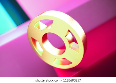 Life Ring Icon on the Candy Magenta and Cyan Geometric Background. 3D Illustration of Gold Floatation Device, Guardar, Life Buoy, Life Ring, Life Save Icon Set With Color Boxes on Magenta Background.